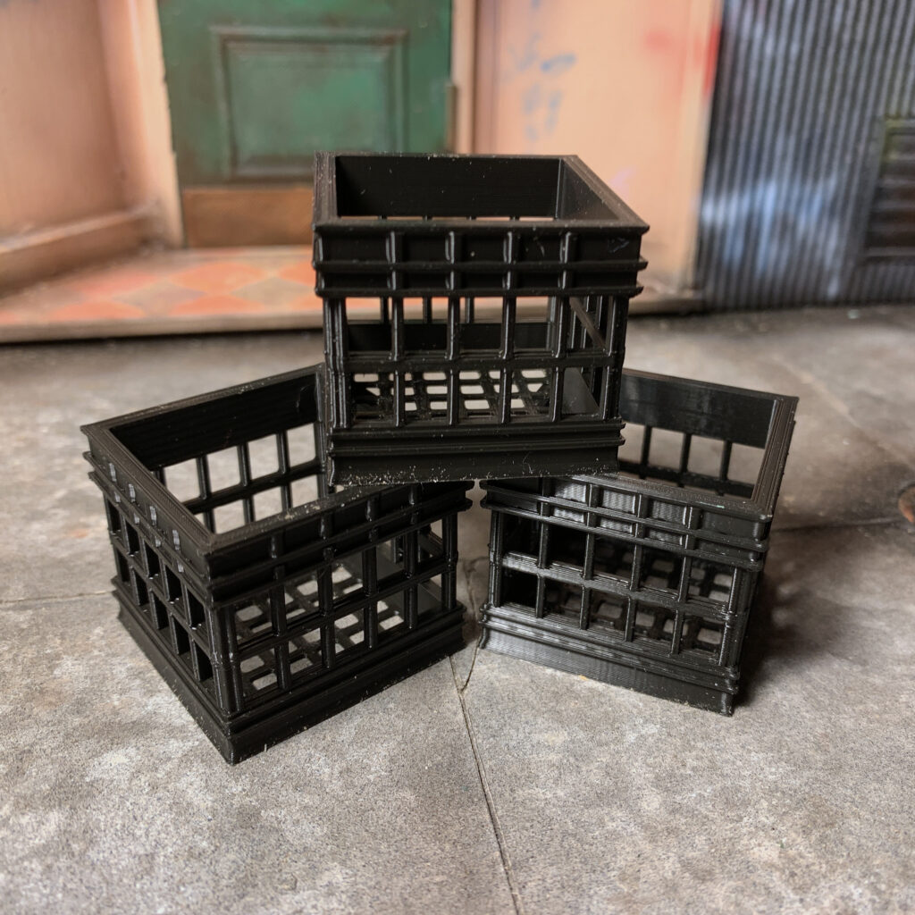 Custom 3D printed milk crates for action figure dioramas