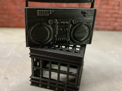 Boombox and milk crate for dioramas